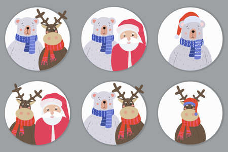 A set of greeting cards for Merry Christmas and Happy New Year. Teddy Bear, Reindeer and Sanja Claus. Holiday vector illustration