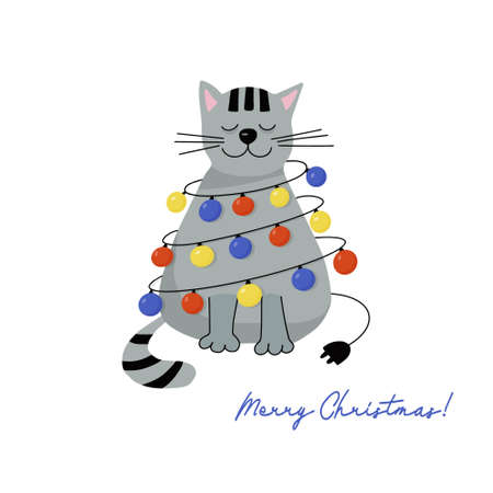 Christmas greeting card. Happy gray cat with a garland of multicolored lights. Holiday vector flat illustration. Ilustracja