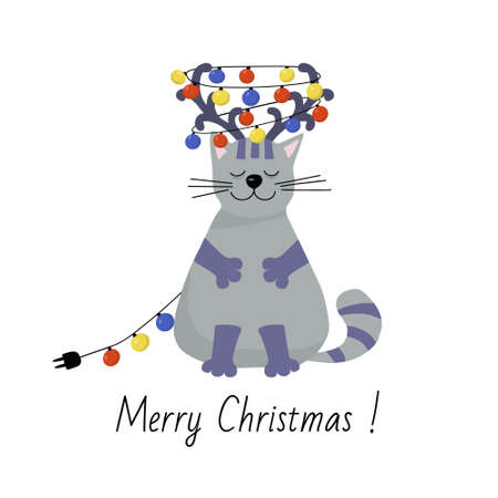 Greeting Christmas card. Happy gray cat with reindeer antlers on his head. Garland of multicolored bulbs. Holiday vector flat illustration