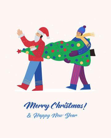 Happy people in winter clothes are carrying the New Year tree, getting ready for the Christmas holiday. Vector flat poster Ilustracja