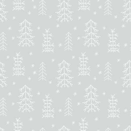 Seamless New Year template with stylized Christmas trees In the forest. Vector holiday background for packaging, paper and textile products