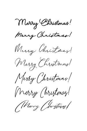 Handwritten greeting inscription Merry Christmas. Vector Lettering