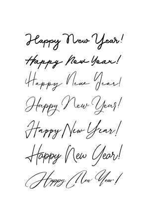 Handwritten greeting lettering Happy New Year. Vector Lettering