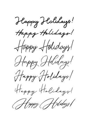 Handwritten greeting inscription Happy Holidays. Vector lettering. Ilustracja