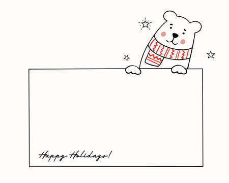 Template for Christmas greetings with a cute teddy bear in a knitted scarf. Holiday vector illustration. Ilustracja