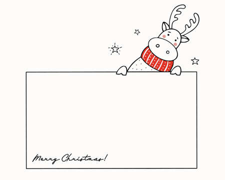 Template for Christmas greetings with a cute reindeer in a red knitted scarf. Holiday vector illustration. Ilustracja