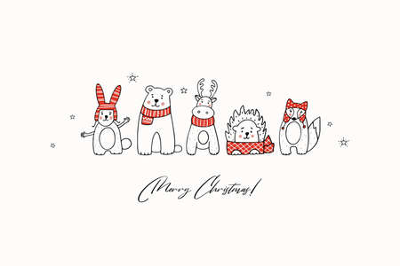 Christmas greeting card with stylized animals in winter clothes. Hand drawn. Ilustracja