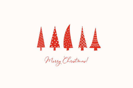Christmas greeting card with stylized red stylized Christmas trees. Vector posters drawn by hand. Ilustracja