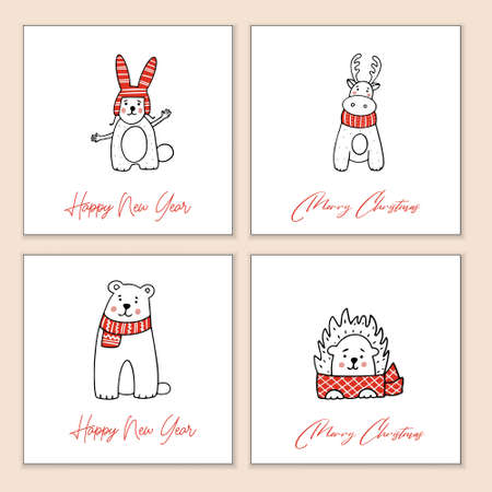 Set of Christmas greeting cards with stylized animals. Vector templates hand drawn.