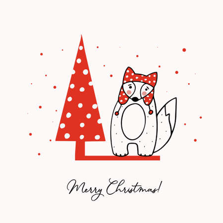 Greeting template with a cute little fox and a stylized Christmas tree. Holiday vector illustration.