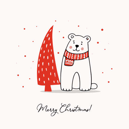 Greeting template with a cute Teddy Bear and a stylized Christmas tree. Holiday vector illustration.