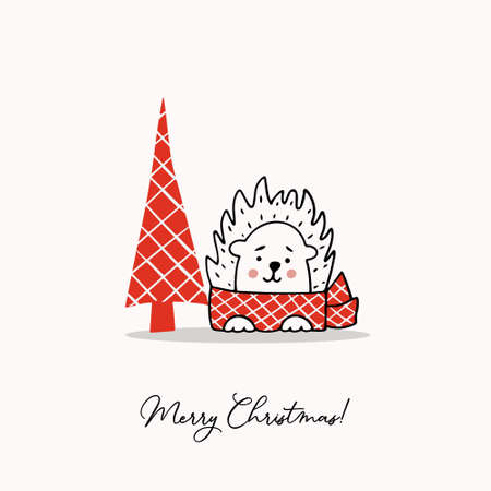 Greeting template with a cute hedgehog and a stylized Christmas tree. Holiday vector illustration.