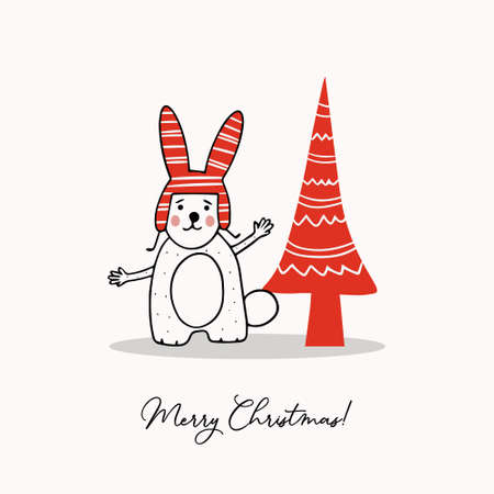 Greeting template with cute bunny and stylized Christmas tree. Holiday vector illustration.