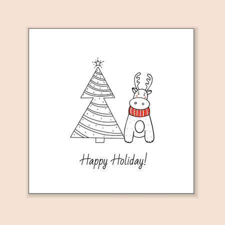 Greeting template with cute reindeer and stylized Christmas tree. Holiday vector illustration.