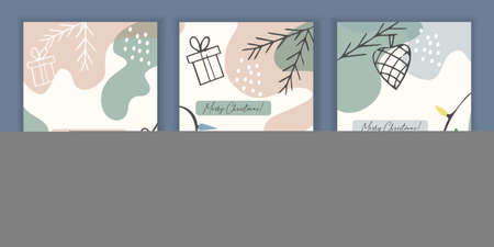 Set of 3 holiday templates for a greeting card or invitation for Christmas and New Year.
