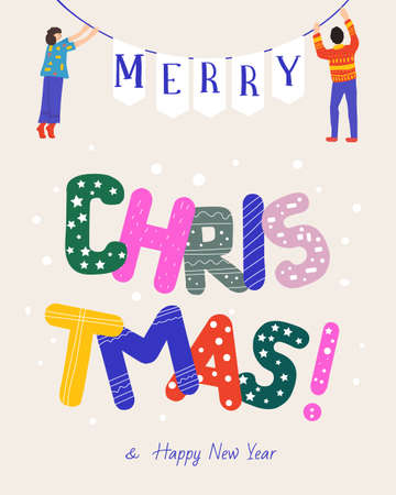 Christmas greeting card. Happy people holding bright letters. vector illustration. Ilustracja