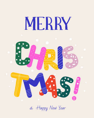 Christmas greeting card. Colorful bright letters. vector illustration.