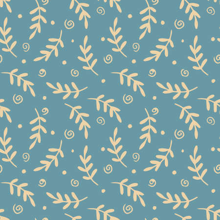Seamless pattern with branches and leaves and abstract doodles. Vector background for paper, packaging, textiles.