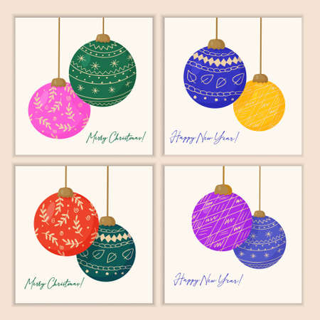 Set of Christmas cards with decorations for the New Year tree made of brightly colored glass balls. Vector greeting template.