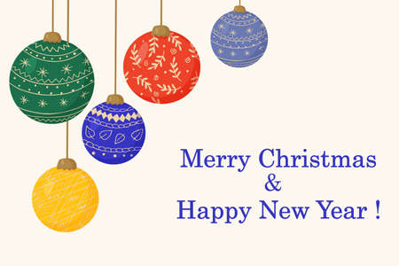 Christmas tree decorations made of glass balls and greeting inscription in bright letters. Vector illustration.