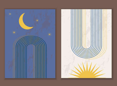 Set of minimalist abstract print with rainbow and moon and sunrise. vector template. Ilustracja