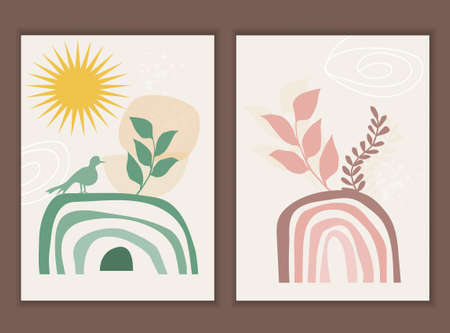 Template with abstract composition of rainbow and botanical boho elements. Vector wall art.