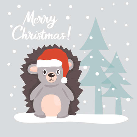 Christmas card with a cute hedgehog in a Santa Claus hat, among Christmas trees in a snowy forest. Vector illustration.