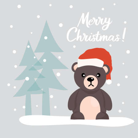 Christmas card with a cute Teddy Bear in a Santa Claus hat, among Christmas trees in a snowy forest. Vector illustration.