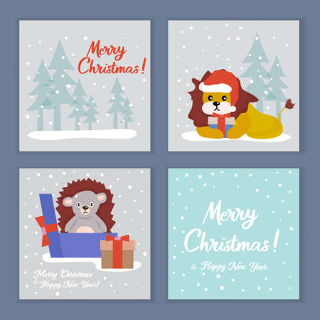 Christmas cards with cute animals in Santa Claus hat, with holiday elements. Vector illustration.
