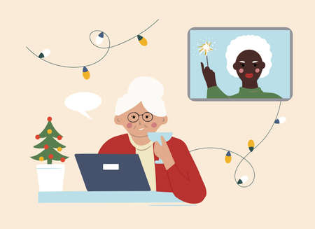 Two elderly grandmothers wish each other a Merry Christmas online. Communication over the Internet at a distance. Ilustracja