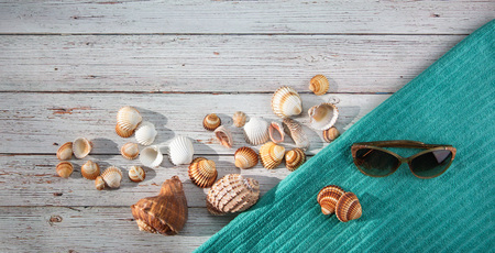 Top view. Variety of shells, beach towel, starfish, sunglasses, goggles placed on light wooden bachground. Seaside vacation, snorkeling, diving. Family holidays. Reklamní fotografie