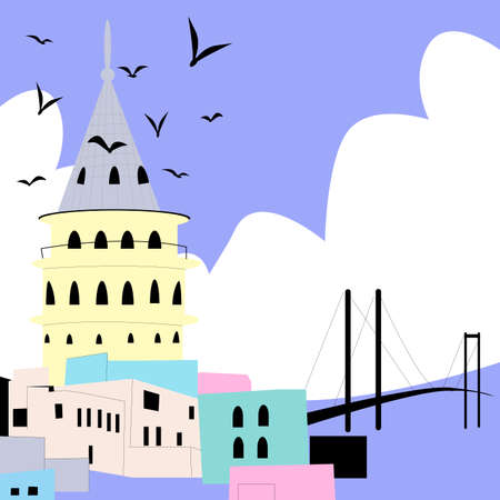 Vector stylish abstract illustration of Istanbul. Tower galata and Bosphorus bridge. Turkish city for printing on posters, magnets, advertising brochures, postcards and more.