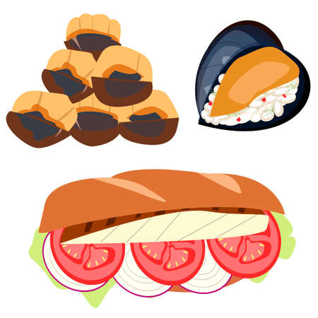 Hand-drawn vector Turkish street food: chestnuts, fish with vegetables sandwich, stuffed mussels. Balık ekmek, Midye dolma, Kestane isolated on white background.  イラスト・ベクター素材