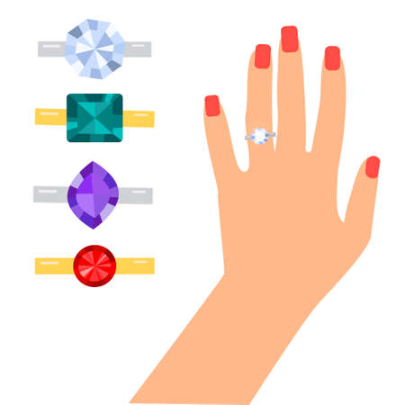Female hand with a wedding ring. Vector flat illustration isolated on white background. Different rings with a precious stone.