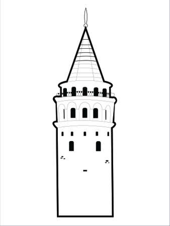 Galata tower in simple linear style isolated on white background. Vector illustration. Çizim