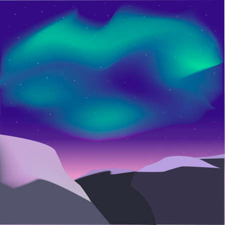 Vector illustration of the northern lights and mountains. Scandinavian landscape.