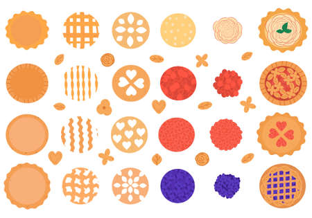 Big vector set of ingredients for the pie. Food constructor for your design of pies and tarts.