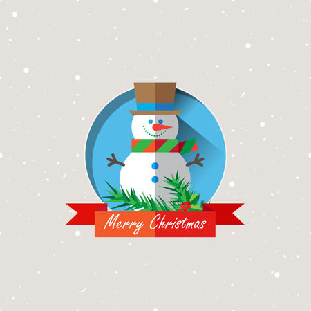 snowman: Vector illustration of Christmas Snowman with striped scarf icon in flat design style.
