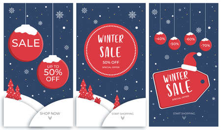 Set of social media banners for Stories. Winter sale banners with balls, trees and snowflakes. Vector illustration.