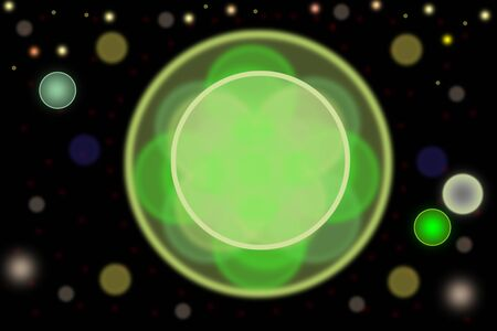 Abstract bokeh with green circle in center and a further glowing circles on black backround