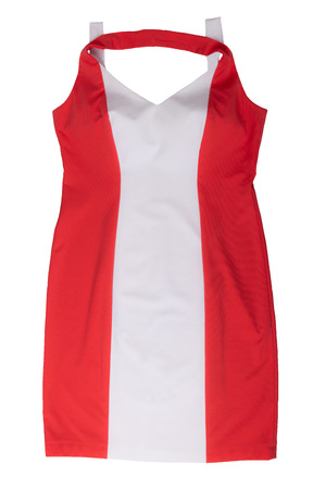 Fashionable summer clothes isolated on a white background. Bright red white sleeveless summer dress. Summer fashion.