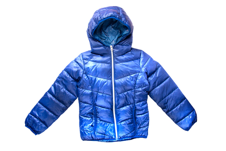 Childrens winter jacket. Stylish childrens blue warm down jacket isolated on white background.