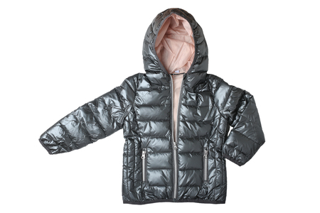 Childrens jacket isolated. Fashionable silver gray warm down jacket isolated on a white background. Childrens wear.