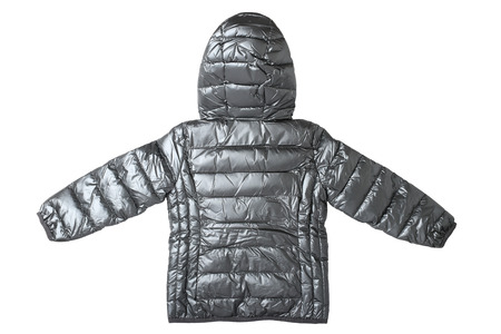 Childrens jacket isolated. Fashionable silver gray warm down jacket isolated on a white background. Childrens wear. Back site.