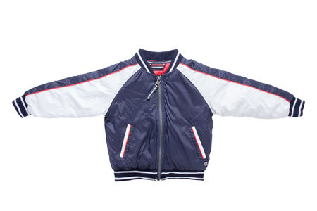 Childrens autumn or winter jacket. Stylish childrens blue and white warm down jacket isolated on a white background.