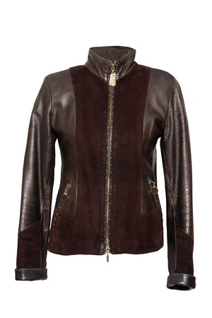 Leather jacket. Woman elegant brown leather jacket isolated on a white background. Women fashion.