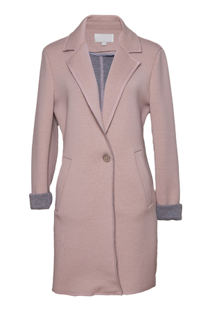 Woman coat isolated. Stylish womens pink coat isolated on a white background. Spring and autumn fashion.