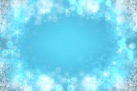 Abstract blurred festive winter christmas or Happy New Year background with snowflakes stars and white bokeh lights. Space for your design. Card concept.