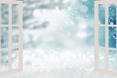 Abstract festive snowbound landscape.  Open window with view of snowy landscape  with snowflakes. Winter christmas holidays or other festivals. Space for your design. Stock Photo