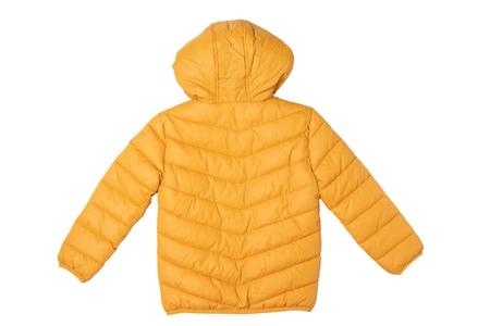 Childrens winter jacket. Stylish childrens yellow warm down jacket isolated on a white background. Winter fashion. Back view. Zdjęcie Seryjne